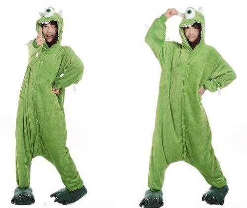 Zeichentrickfiguren Schlumpf Ausländer Mike Wazowski Elmo Sully keks Monster Onesie Kigurumi Pyjama Karneval Kostüm Maskenkostüm Kapuzenpulli Schlafanzüge Mike Wazowski, L(Height 170cm-180cm)