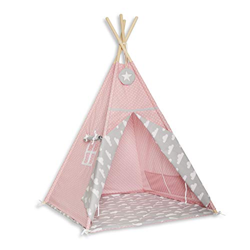 FUNwithMUM Tipi Zelt Spielzelt Teepee Fur Kinder Indianer Wigwam Kinderzimmer Garten Bodenmatte 100x100x150 Baumwolle - Cloudy Rose