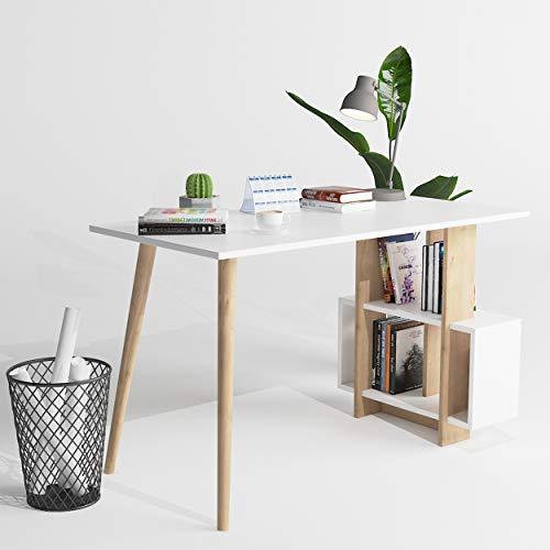 P&W Biurko   biurko komputerowe z miejscem do przechowywania, duże biurko studenckie z 4 półkami dom biuro biurko PC laptop stół nowoczesny drewniany stacja robocza z wbudowaną książką, dąb i biały, 120 x 60 x 73 cm