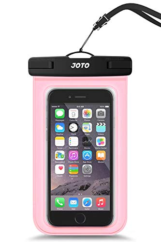 """JOTO Universal Waterproof Pouch Cellphone Dry Bag Case for iPhone 12 Pro Max 11 Pro Max Xs Max XR X 8 7 6S Plus SE, Galaxy S20 Ultra S20+ S10 Plus S10e /Note 10+ 9, Pixel 4 XL up to 6.9"""" -Clearpink"""