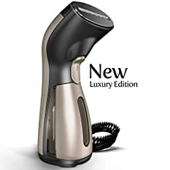 UNIQUE LUXURY DESIGN! FULL STEAM AHEAD – No wrinkle is too tough for the Luxury Edition iSteam! Its ready-to-go water tank heats in 25 seconds and powers 10 continuous minutes of soothing steam. Gently iron all your clothes, drapery, beddings, and mo...