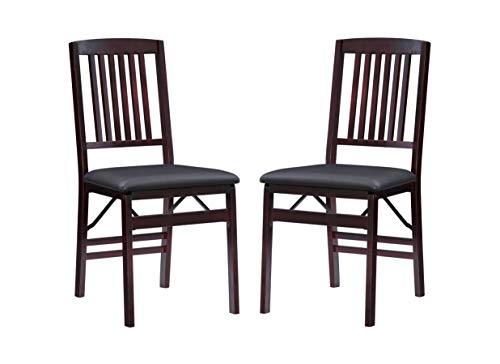 "Linon Triena Mission Back Set of 2 Folding Chair, 17"" w x 20"" d x 36"" h, Brown"