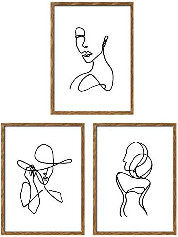 ArtbyHannah Framed Minimalist Line Wall Art Decor Abstract Woman s Body Shape Picture Frame product image
