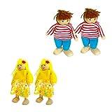 TOYANDONA 4 Stücke Familie Puppen Set Holz Puppenfamilie Holzpuppen Holzfiguren Figurenkegel...