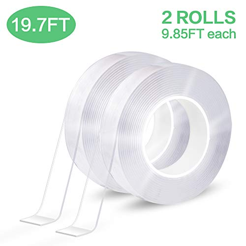 EZlifego Double Sided Tape Heavy Duty (2Pack 6M/19.7FT) Multipurpose Mounting Tape Removable Adhesive Strips Transparent Wall Tape,Washable Strong...