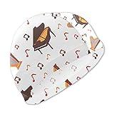 Badekappe, Badehut, Musical Instruments Piano Jazz Swim Caps for Kids Boys and Girls Baby Bathing Caps for Long and Short Hair