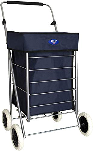 4 Wheel Shopping Trolley - Foldable Mobility Trolley - 47L and 60L Capacity Shopping Trolley Bag - Storage Cart with Easy-Grip Handle - Collapsible Trolley with Wheels (Navy, 60 Litre)