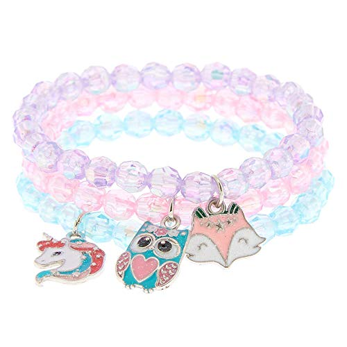 Claire's Club Beaded Stretch Bracelets, Pink/Purple/Blue with Charms, One...