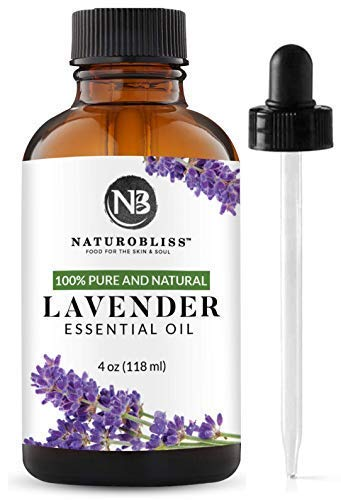 NaturoBliss Lavender Essential Oil 100% Pure Therapeutic Grade Premium Quality Lavender Oil 4 fl Oz  Perfect for Aromatherapy and Relaxation