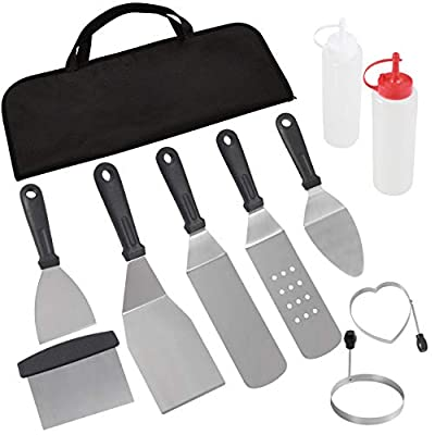 POLIGO Professional Spatula Set in Packing Box - 10pcs Commercial Grade Stainless Steel Griddle Accessories Set for Flat Top Cooking Teppanyaki Grill - Metal Tool Set for Men