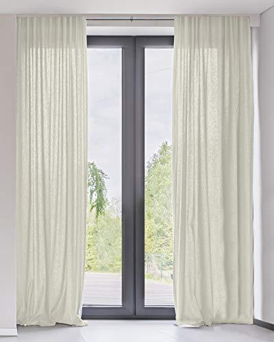 "CHICOLOGY CTPAC5284 Curtain Panels Rod Pocket Top Window Drapes, 52""W X 84""H, Adorn Cream (Sheer)"