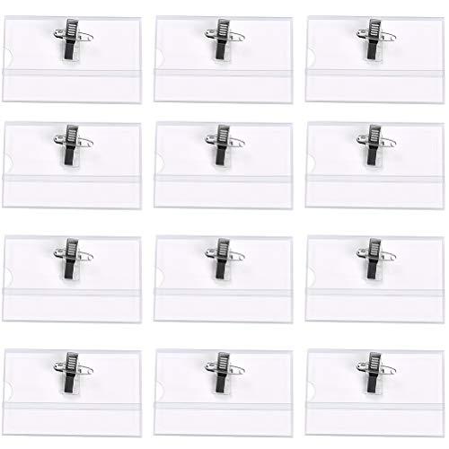 YOTINO 50PCS Kartenhalter Namensschilder Transparent Namensschilder mit Halter-Clip Durable Namensschild ID Ansteck-Nadel Ausweishülle Abzeichen Halter Ausweis-Set für Arbeit Büro und Schulbedarf