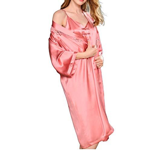 LZJDS Vestaglia Donna Sexy in Seta 2 Pezzi V-Collo Indumenti da Notte con Pizzo E Cintura, Biancheria da Notte Camicia da Notte Pigiama Sposa Kimono Donna,Rosa,L