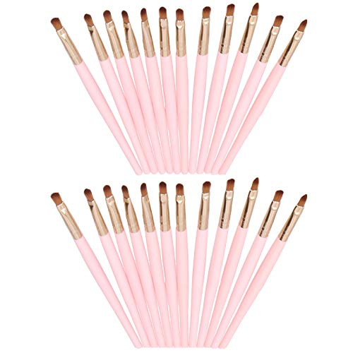 24 pièces brosse de contour pour les lèvres de contour des yeux pinceau de fard à paupières pinceau de maquillage applicateur de rouge à lèvres crayon à lèvres pinceau de contour applicateur de brosse