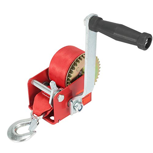 Qiilu 600lbs Hand Winch Hand Crank Strap Gear Winch Polyester Strap for Pickup Trucks Trailers and Other Mobile Applications