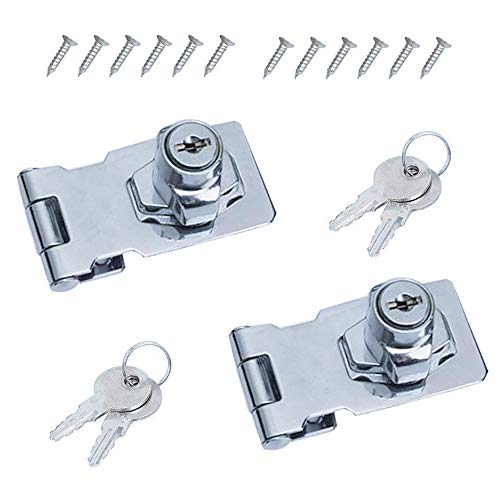 MIZOMOR 2Pack Door Lock Hasp with Padlock and Key 65mm Shed Lock Heavy Duty Hasp and Staple Sets Keyed Hasp Lock Metal Door Bolt Latch Buckle for Shed Door Window Cabinets Boxes Furniture Gate