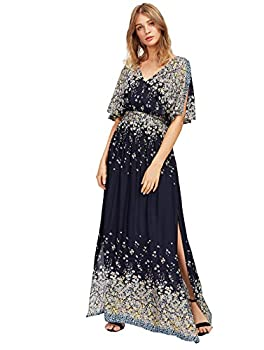 Milumia Women s Boho Tie Waist Split Vintage Print Maxi Dress Black Small