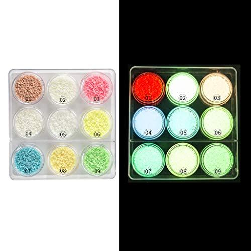 9PC fluorescent très lumineux Glow In Dark Sable Poudre Résine pigment Kit Fabrication de bijoux