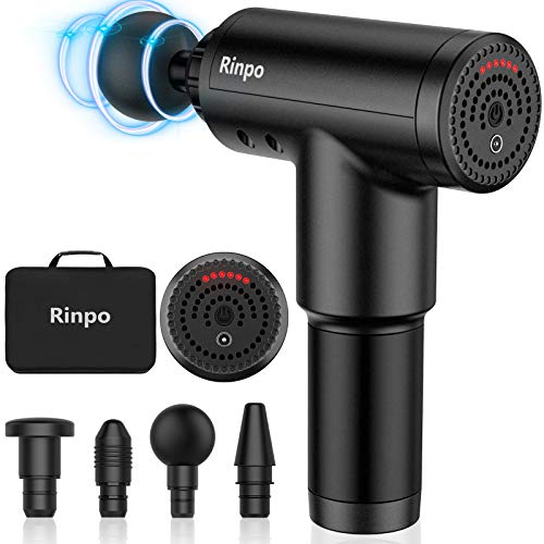 Massage Gun Rinpo Deep Tissue Percussion Muscle Massager Professional Personal Massager Soreness Relief for Athletes 6 Speeds & 4 Heads Handheld Rechargeable Portable
