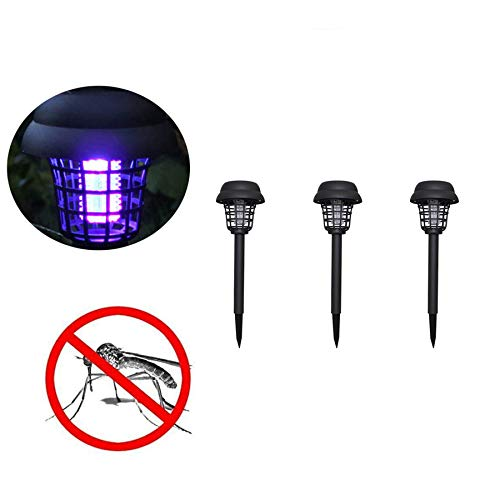 Naiflowers 3PC Solar Powered LED Light Mosquito Zapper Bug Killer Insect Killing Lamp Indoor Outdoor Ground Backyard Garden Patio Lawn Best Stinger Moth Fly Solar Powered Pest Light
