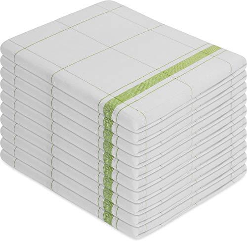 Normani Lot de 10 torchons de cuisine - Tissu lavable jusqu'à 60 °C, Toile de lin, Wipe professionnelle / verte., 55 x 75 cm