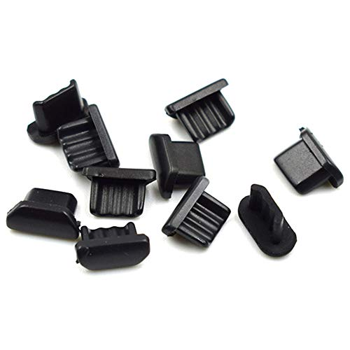 Hxchen 10Pcs Anti Dust Soft Plastic Dock Cover Micro USB Port Dustproof Cover Black