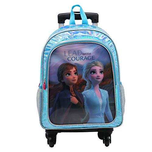 Frozen II Vision 5D Effect Backpack with 4 Wheels Multi-Directional Swivel Trolley with Pocket