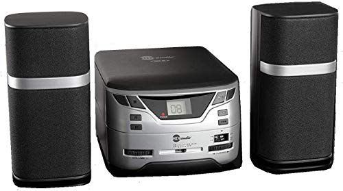 HDi Audio Modern Premium CD-526 Compact Micro Digital CD Player Stereo Home Music System with AM/FM Tuner Aux-in & Headphone Jack (Black/Silver)
