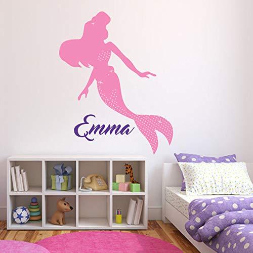 Nombre personalizado Etiqueta de la pared Pegatinas de pared de sirena para niñas Dormitorio Etiqueta de la pared Nombre personalizado Decoración del hogar Arte de la pared Mural Color-2 84x105cm