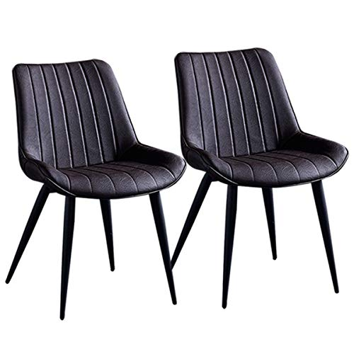 ZCXBHD PU Leathe Dining Chairs Set 2 Stück schwarz Metallbeine Küchentheke Stühle Lounge Leisure Room Corner Stühle Rezeption Stühle mit Rückenlehne Sitz (Color : Dark Brown)
