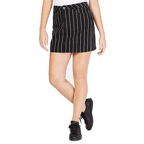 Vanilla Star Womens Juniors Denim Pinstriped Mini Skirt B/W 5