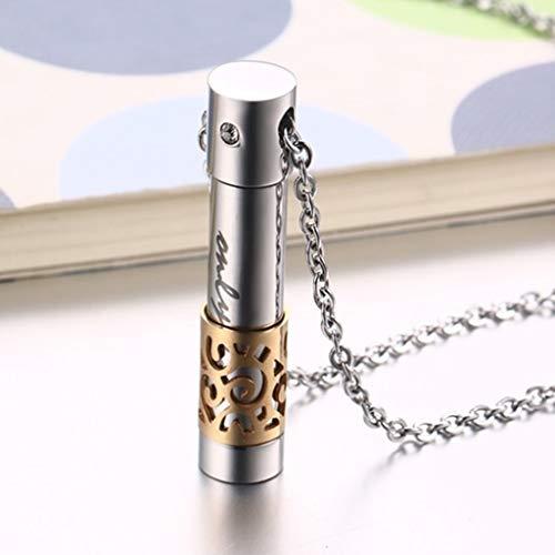DIAOSI El Cilindro de Acero Inoxidable Abre el Colgante de Perfume, Hecho de Acero, Incrustaciones de Brillantes pedrería 9mm * 38mm (Color : Gold)