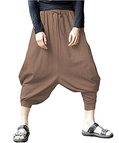 CLANMILUMS Mens Cotton Harem Pants Baggy Casual Elastic Waist Hippie Trouser (Brown, XXX-Large)