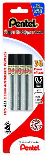 Pentel Super Hi-Polymer Lead Refill (0.5mm) Fine, 2H, 36 Pieces of Lead (C505BP32H-K6)