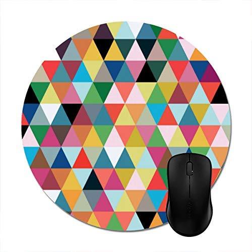 Mauspad Buntes Geometrisches Dreieck Gemusterte Runde: 20 Cm Office-Spiel Rutschfestes Zubehör Büro Gedruckte Personalisierte Mausmatte Tastaturarbeitstisch Buntes Mauspad Stilvoll