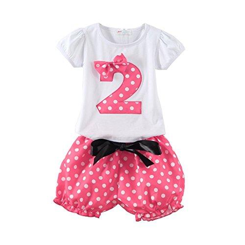 Mud Kingdom 2T Baby Girl Birthday Shirt and Short Set I Am 2 Pink