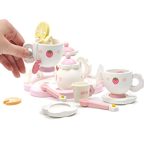 rosemaryrose Tee Set Rollenspiel Rollenspiele Kinder-Wooden Strawberry Afternoon Tea Children's House Tea Set -Playhouse