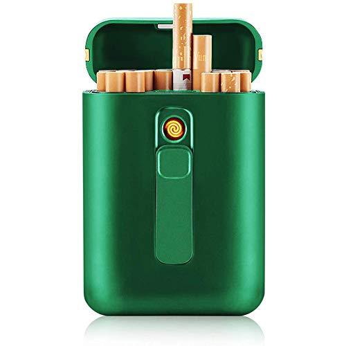 VIY Caja De Cigarrillo con Mechero Cigarette Case De Aluminio USB Recargable Caja Cigarrillo con Encendedor Pitilleras, para Mujer Y Hombre