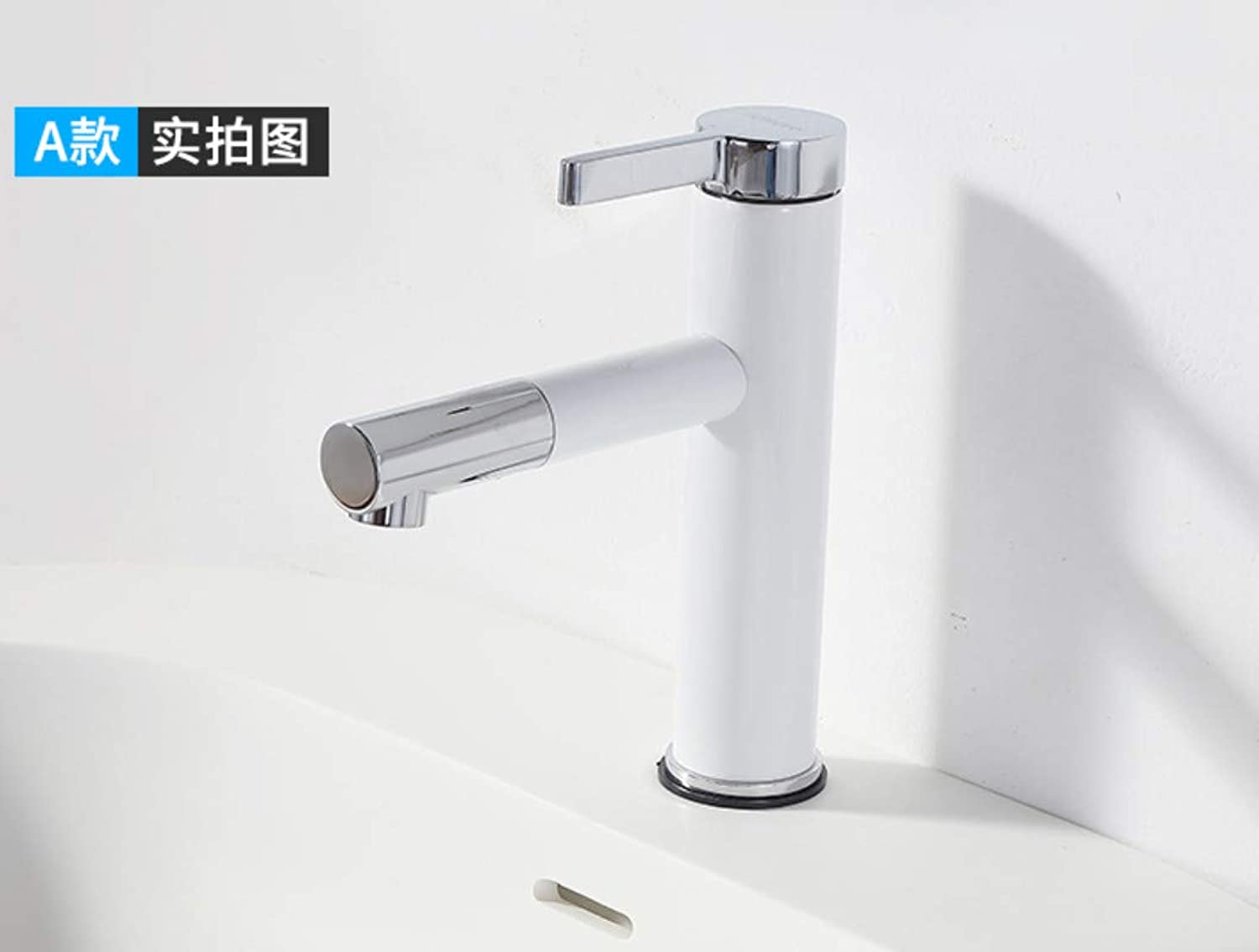 ROKTONG Taps Copper Bathroom Faucet Single Hole Basin Faucet Hot And Cold Basin Faucet redating White Faucet