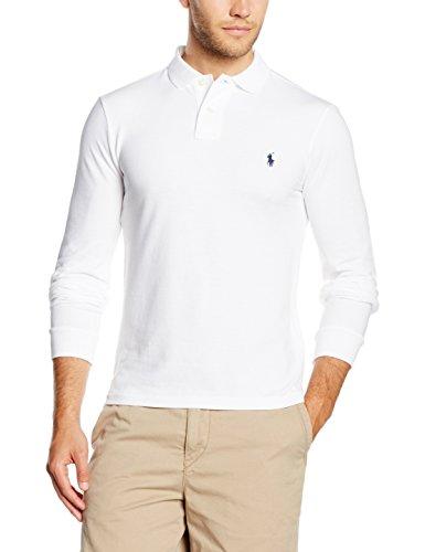Polo Ralph Lauren Herren LS KC Slimfit PPC Poloshirt, Weiß (White A1000), Small