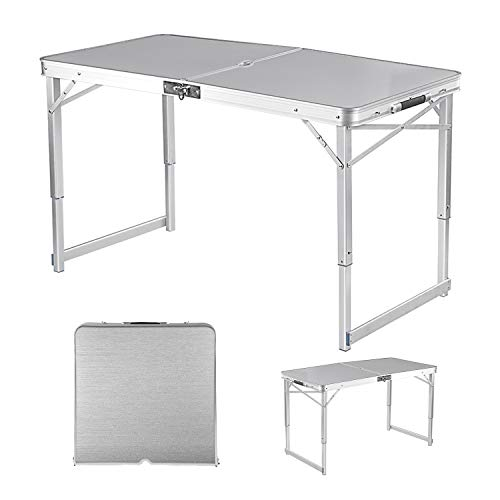 Adalantic 4-person Picnic Folding Table, Height Adjustable, Portable Aluminum Camping Table Indoor...