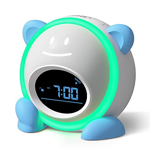 Kids Alarm Clock, Windflyer Toddlers Alarm Clock Children Sleep Trainer Clock with Facial Expressions, Night Light, Nap Timer, Sleep Sound Machine Wake up Light Alarm Clock for Kids Boys Girls Bedroom