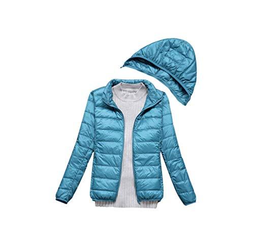 Baijiaye Damen Hood Jacket Schlank Daunenjacke Gefüttert Ultraleicht Daunenjacken Winter Warm Verstaubar Blauer See M