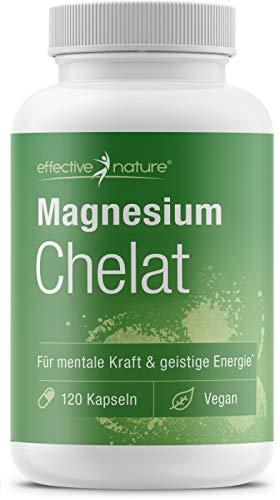 effective nature - Magnesium Chelat - Pro Tagesdosis 300 mg Magnesium - Gute Verträglichkeit bei Hoher Bioverfügbarkeit - Produziert und Laborgeprüft in Deutschland - Vegan u. glutenfrei - 120 Kapseln