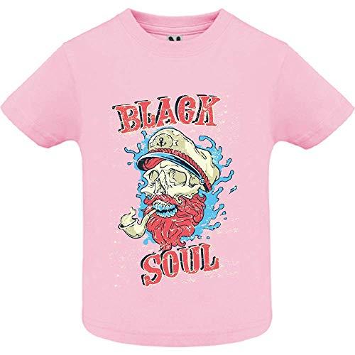 LookMyKase T-Shirt - Black Soul - Bébé Fille - Rose - 6mois