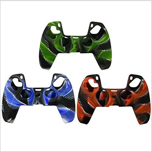 Fenmic Oil Spray Camouflage Colored Silicone Schutzhülle für PS5-Controller-Griff (Green)
