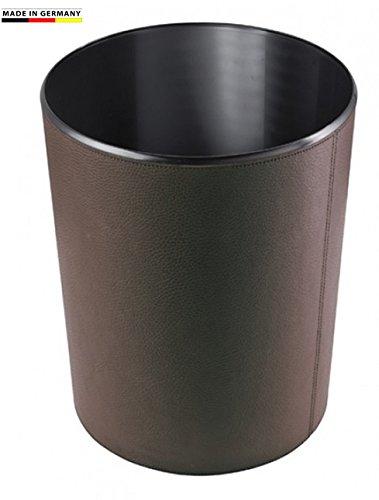 Handmade in Germany excl. Papierkorb-Leder-dunkelbraun, Leder-Papierkorb aus feingenarbtem Rindnappaleder erhältlich in 5 Farben, von FIHA-Promotion