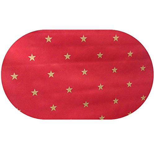 DecoHomeTextil Wachstuch Sterne Glatt LMKV RUND OVAL Oval 130 x 160 cm Gold Rot abwaschbare Tischdecke Weihnachten