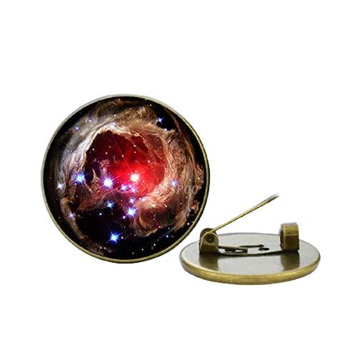 Broche de cristal con forma de galaxia, para hombre y mujer, diseño de cabujón de cristal, accesorio de moda