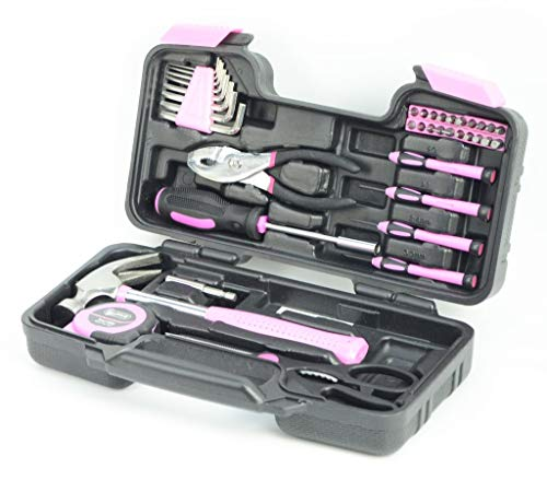 Hyfive Ladies Pink Tool Kit Tool Kit DIY Set with Pink Hammer, Pink Pliers,...